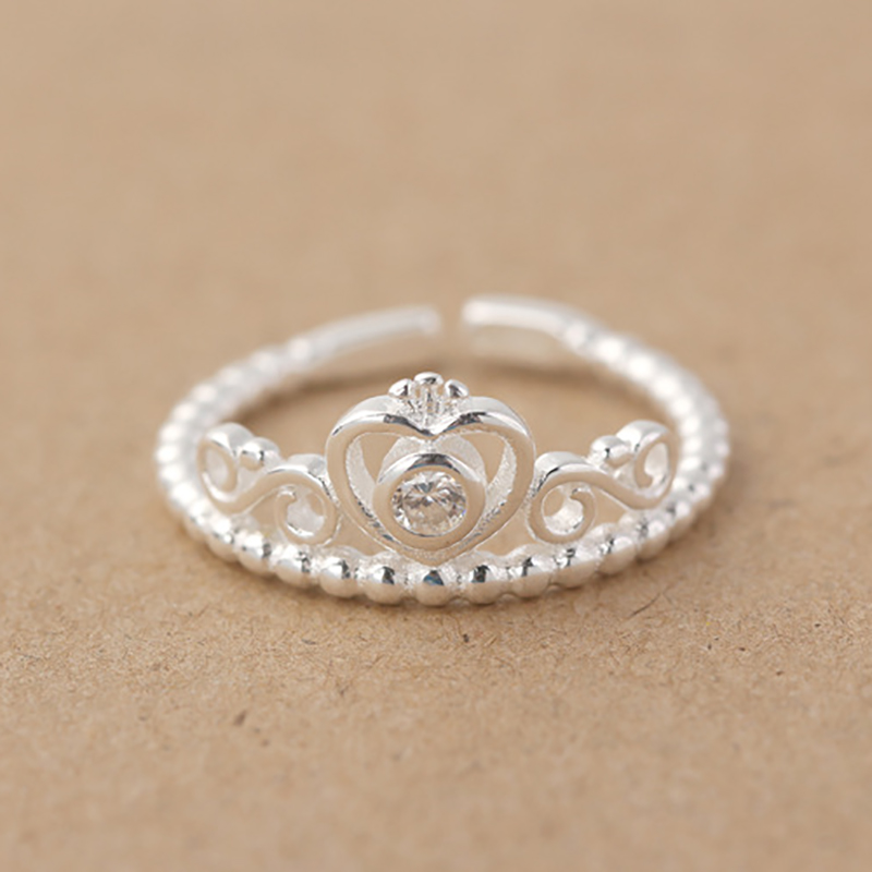 Handmade Princess Crown Shaped Sterling Silver Open Ring Women S Wedding